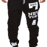 Letter and Number Print Beam Feet Drawstring Sweatpants