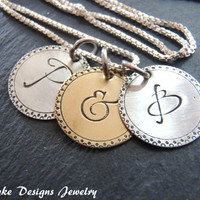 Ampersand necklace two initial necklace sterling silver and nu gold brass