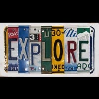 Funky EXPLORE Word Block  Custom Words Available  by recycledartco