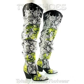 CR Kelsey 21 Hilda White Lime Snake Western Slouch OTK Thigh High Cowboy Boots