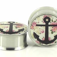 Floral Anchor Image Plugs Embedded Resin Filled  by GlitzGauge