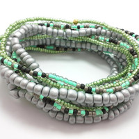 Seed bead wrap stretch bracelets, stacking, beaded, boho anklet, bohemian, stretchy stackable multi strand, silver, mint green, black, green
