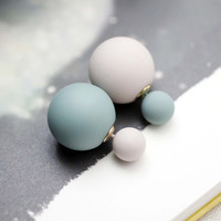 Front and Back Pastel ball ear jacket, unbalance Color balls ear jacke