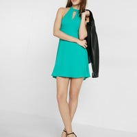 Petite Mock Neck Keyhole Fit And Flare Dress