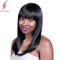 Yiyaobess 40cm 2# Heat Resistant Synthetic Medium Length Black Wig For Women Natural Straight Hair Wigs With Bangs