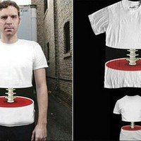 Sliced look See-Through Spine Illusion T-Shirt