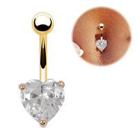 Belly Button Ring - Crystal Clear Heart - 18K GP