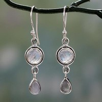 Moonstone dangle earrings, 'Shimmer'