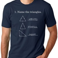 Name the Triangles T Shirt Funny Math Geometry Quiz Tee