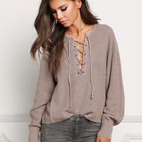 Mocha Thick Knit Lace Up Knit Sweater
