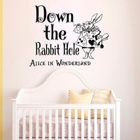Wall Decals Alice in Wonderland Quote Decal  Down the rabbit hole Sayings Sticker Vinyl Decals Wall Decor Murals Z328