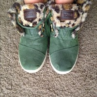 Toms Highland Bota Green Leopard Fleece High Top