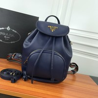 HCXX 19June 748 Prada Fashion Casual Renovate Cylindrical Package Travel Backpack 27-19-32 dark blue