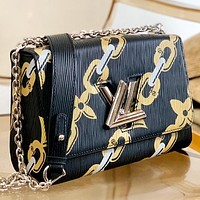 LV New Fashion Print Leather Chain Shoulder Bag Crossbody Bag Black