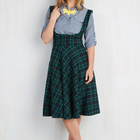 90s, Steampunk, Scholastic Long High Waist Equation Occasion Jumper in Emerald by ModCloth