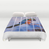 Parrot in a cage Duvet Cover by Lanjee