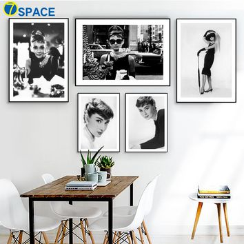 Audrey Hepburn Wall Art Print Canvas Painting Nordic Posters And Prints Black And White Wall Pictures For Living Room Decoration