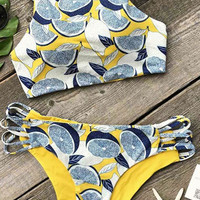 Cupshe My Heart Pounds Lemon Bikini Set