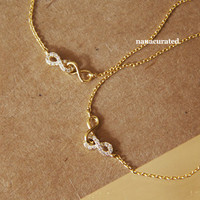 Double Connected Infinite Dainty Charm Necklace, Necklaces, Hipster Necklace, Charms, Holiday Gifts, Gift Ideas, Arrow Necklace