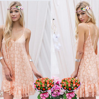 Floral Lace Backless Spaghetti Strap Dress