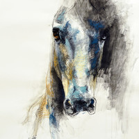 """12""""x16"""" - Photo print of a Horse Head Drawing"""
