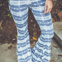 Aztec Printed Flares in Grey