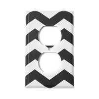 Black and White Chevron Striped Outlet Cover | Icing