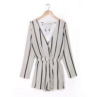 Fashion Ladies' elegant sexy striped jumpsuit short pants long sleeve V neck Rompers with sashes casual slim brand pants KZ621