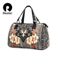 REALER Brand women handbag with floral print tote bag large capacity PU leather travel bags ladies purse