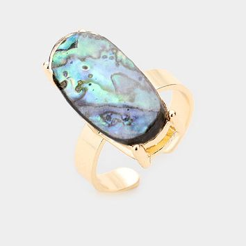Abalone Oval Stone Adjustable Ring