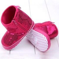 Baby Shoes Girl High Boots Soft Bottom Anti-slip