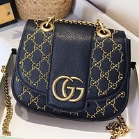 Hipgirls GUCCI Fashion New Embroidery More Letter Chain Shoulder Bag Crossbody Bag Black