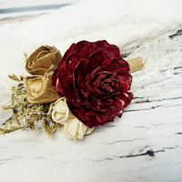 Cream brown burgundy rustic wedding Rustic BOUTONNIERE / CORSAGE groom groomsman, Sola Flower cedar rose dried limonium Wedding Flowers