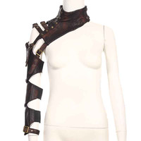 Brown PU Leather Steampunk Long Sleeve Arm Warner Gothic Armor