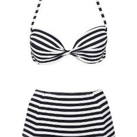 Navy Push Up Bikini Top and High Waisted Bikini Pants - Topshop USA