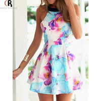 Women Summer/ Spring Floral Dress Sleeveless Mini , Backless
