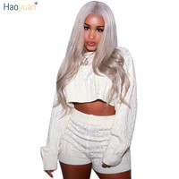 HAOYUAN 2018 Autumn Winter Women Two Piece Set Sexy Club Outfits Sweater Top And Biker Shorts Knitted Suit Clothes Tracksuit