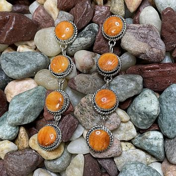 Genuine Spiny 4 Stone Round Drop Earrings