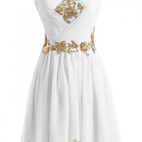 A-line Gold Sequins White Chiffon Short Prom Dresses /Cocktail Dress AM302