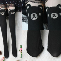 Sexy Women Cartoon Bear Gipsy Mock Knee High Hosiery Pantyhose Tattoo Tights