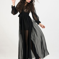 Black V-Neck Long Sleeve Sheer Chiffon Maxi Dress