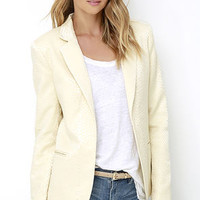 Hither and Slither Cream Jacquard Blazer