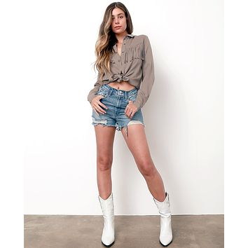 Dreaming Of Summer Denim Shorts - Blue Denim
