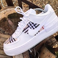 Nike Air Force x BURBERRY stitching color couple casual shoes