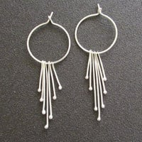 Silver Hoop Dangle Earrings, Loops Minimal Women Jewelry