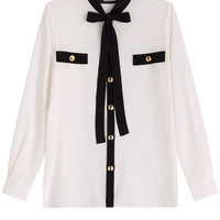 Boutique Moschino - Tie-front Two-Tone Silk Blouse