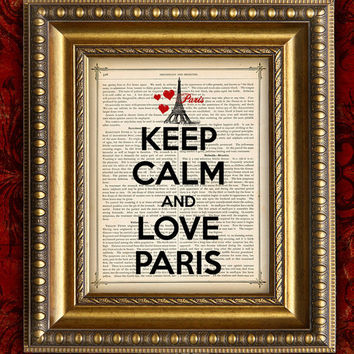 KEEP CALM and LOVE PARIS Vintage Art Print 8x10