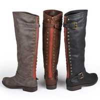 Brinley Co. Womens Regular, Wide-Calf and Extra Wide-Calf Knee-High Studded Riding Boot