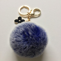 Royal Blue fur pom pom keychain frosted REX Rabbit fur pom pom ball with flower bag charm