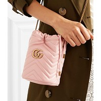 Gucci Hot Sale Women Leather Shopping Bag Bucket Bag Satchel Crossbody Shoulder Bag Pink